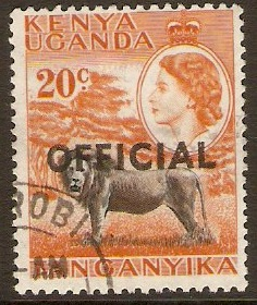 Kenya, Uganda and Tanganyika 1959 20c Black and orange. SGO4.