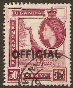 Kenya, Uganda and Tanganyika 1959 50c Reddish purple. SGO6.