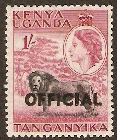 Kenya, Uganda and Tanganyika 1959 1s Black and claret. SGO7.