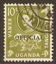 Kenya, Uganda and Tanganyika 1960 10c Yellow-green. SGO14.