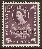 Kenya, Uganda and Tanganyika 1960 15c Dull purple. SGO15.