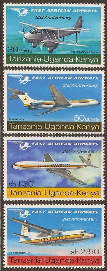 Kenya, Uganda and Tanzania 1967 Airways Anniv. Set. SG235-SG238.