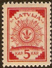 Latvia 1918 5k red. SG16.