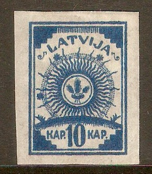 Latvia 1918 10k Blue. SG17.