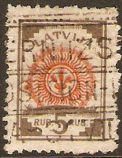 Latvia 1918 5r red and brown. SG30.