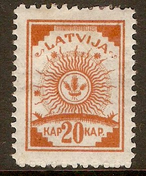 Latvia 1918 20k Orange. SG41.