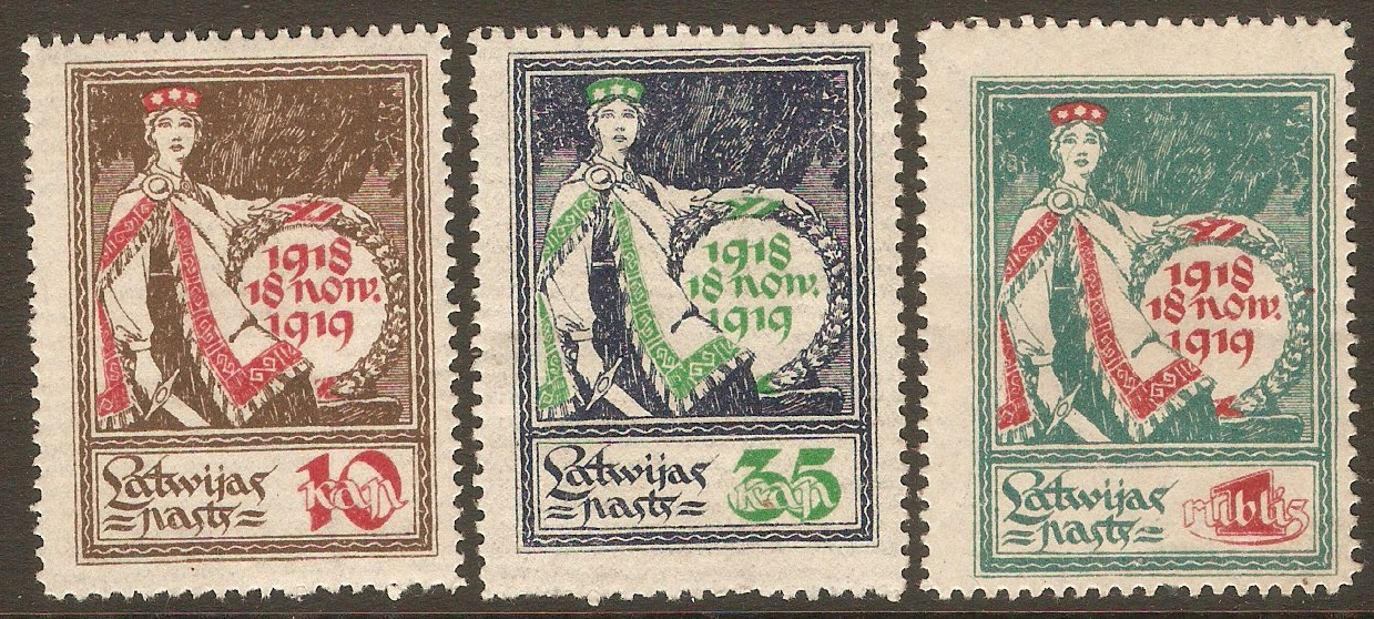 Latvia 1919 Independence set. SG33-SG35.