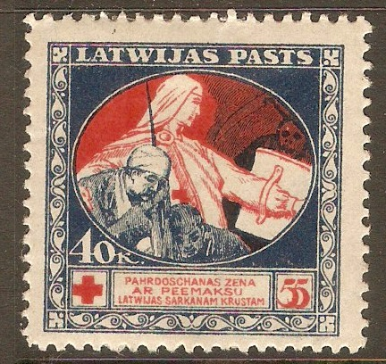 Latvia 1920 40-55k Red and blue. SG47.
