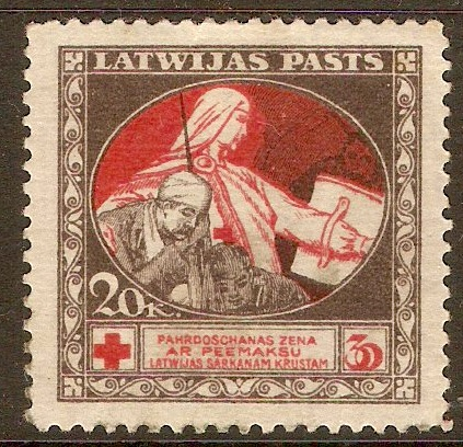 Latvia 1920 20-30k Red and brown. SG54.
