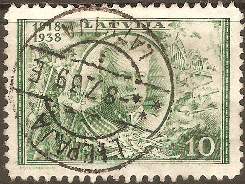 Latvia 1938 10s Green. SG280.