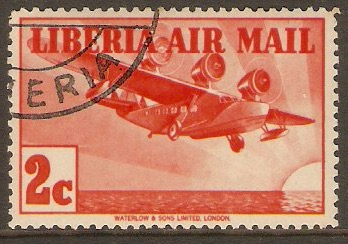 Liberia 1936 2c Red - Air Mail stamp. SG566.