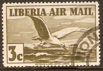 Liberia 1936 3c Olive - Air Mail stamp. SG567.