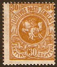 Lithuania 1919 30s orange. SG43.