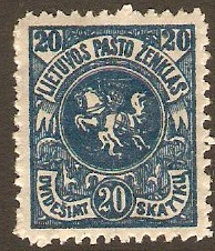 Lithuania 1919 20s blue. SG52.