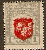 Lithuania 1921 1a red and grey. SG58.