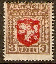 Lithuania 1921 3a red and brown. SG59.