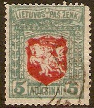 Lithuania 1921 5a red and green. SG60.