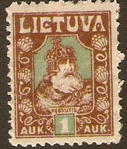 Lithuania 1921 1a green and brown. SG95A.