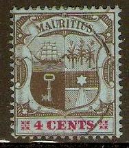 Mauritius 1904 4c Black and carmine on blue. SG167.