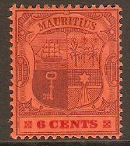 Mauritius 1904 6c Purple and carmine on red. SG168.