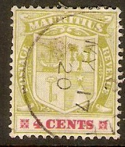 Mauritius 1910 4c Pale yellow-green and carmine. SG184.