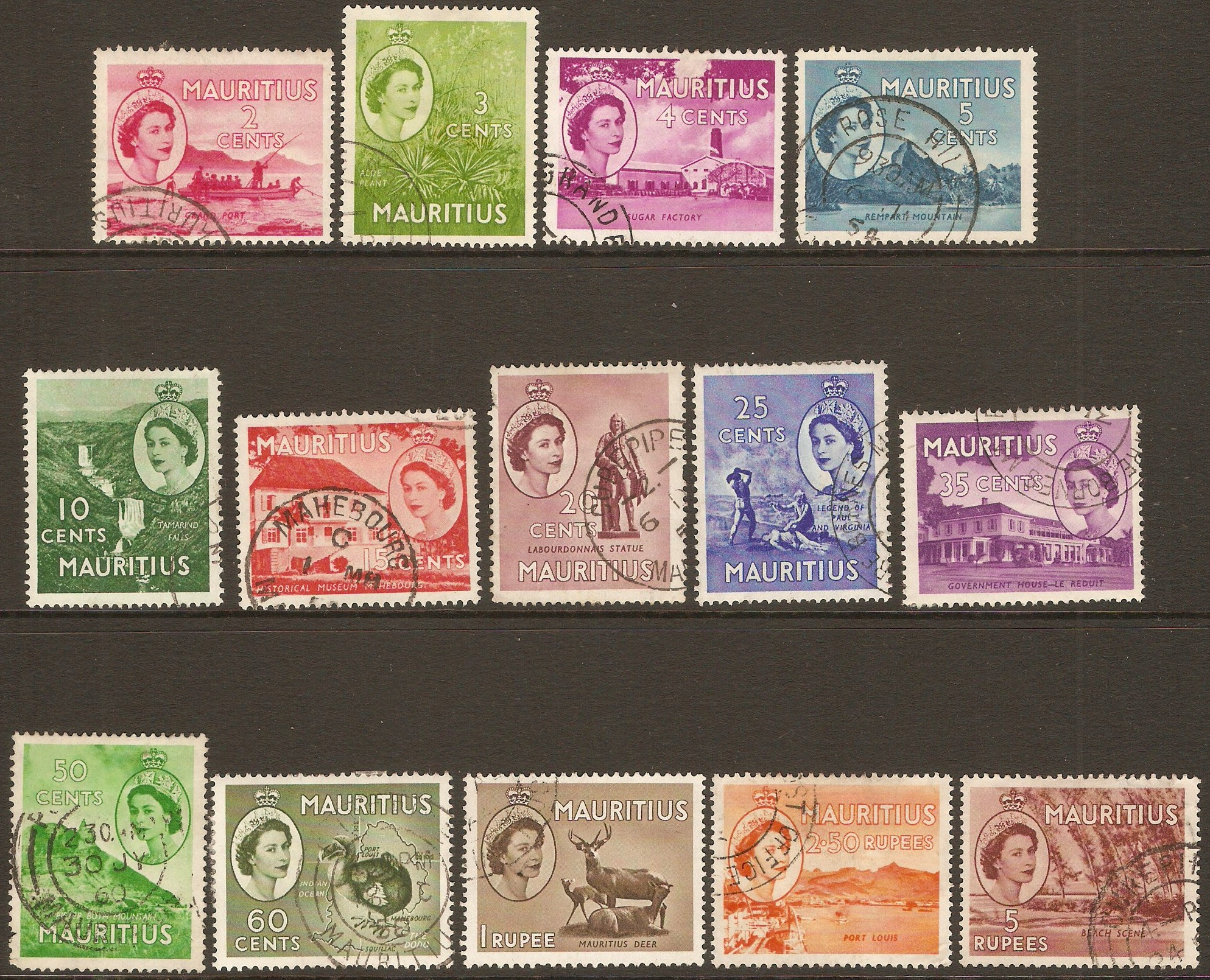 Mauritius 1953 Queen Elizabeth II definitives set. SG293-SG305.