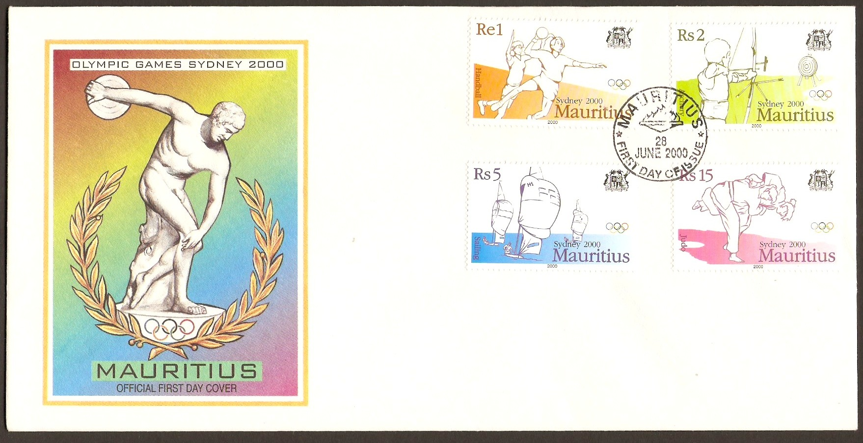 Mauritius 2000 Olympic Games Series FDC.