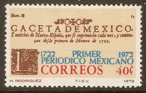 Mexico 1972 40c Newspaper Anniversary. SG1251.