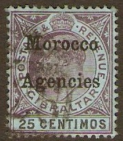 Gibraltar Issues 1903 25c Purple and black on blue. SG20.
