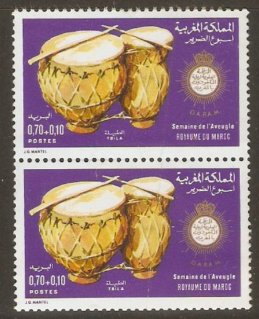 Morocco 1973 70f +10f Blind Protection Week. SG364.