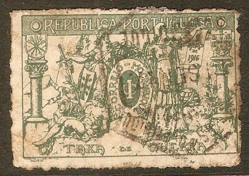 Mozambique 1916 1c Green - Charity Tax. SGC234.