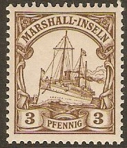 Marshall Islands 1901 3pf Brown. SGG11.