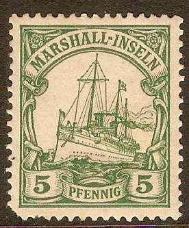 Marshall Islands 1901 5pf Green. SGG12.