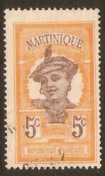 Martinique 1922 5c Brown and orange. SG87. - Click Image to Close