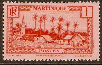 Martinique 1933 1c Scarlet on rose. SG134.