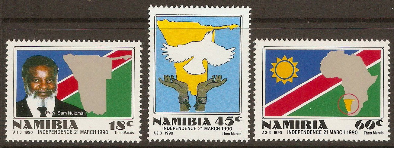 Namibia 1990 Independence set. SG538-SG540.