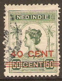 Netherlands Indies 1921 40c on 50c Green. SG254.