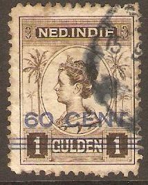 Netherlands Indies 1921 60c on 1g Sepia. SG255.