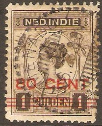Netherlands Indies 1921 80c on 1g Sepia. SG256.