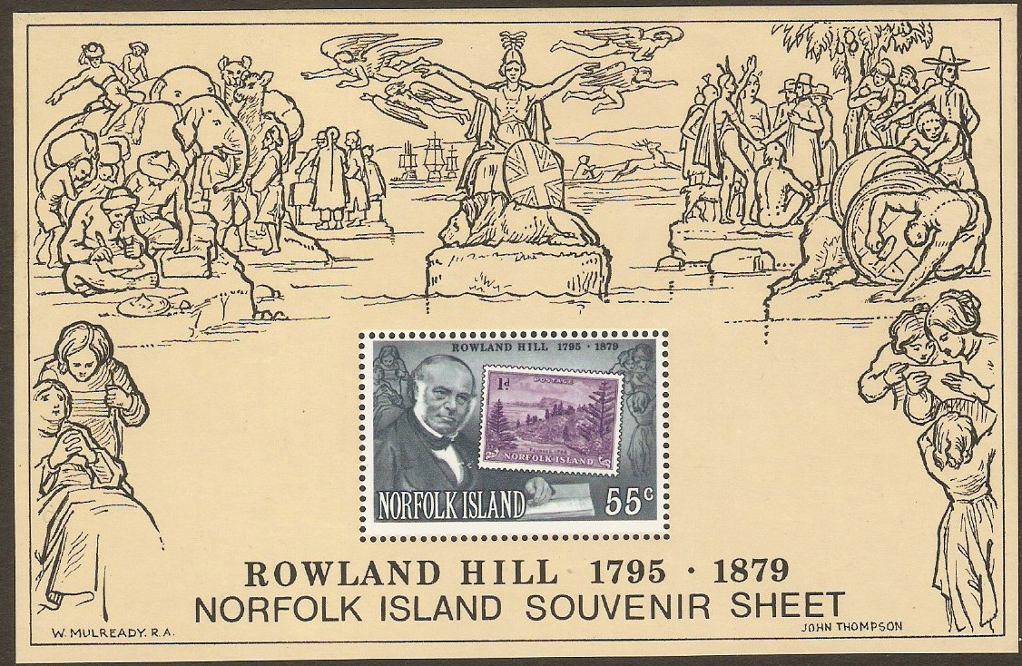 Norfolk Island 1979 Rowland Hill Commemoration Sheet. SGMS228.