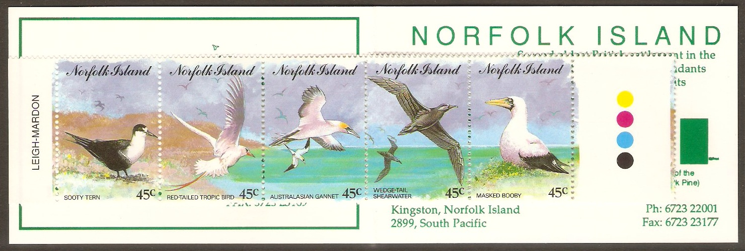 Norfolk Island 1994 Birds Set Stamp Booklet. SG575-SG579.