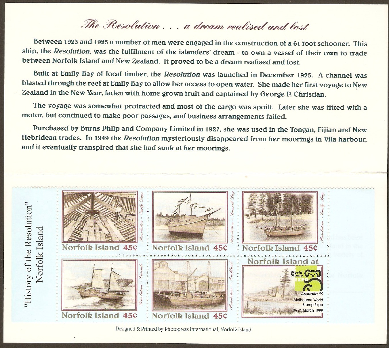 "Norfolk Island 1999 ""Australia '99"" Exhibition Stamp Booklet. SG"