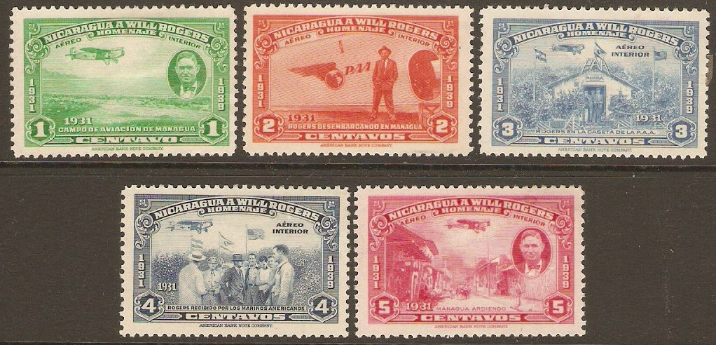 Nicaragua 1939 Will Rogers Commemoration Set. SG1029-SG1033.