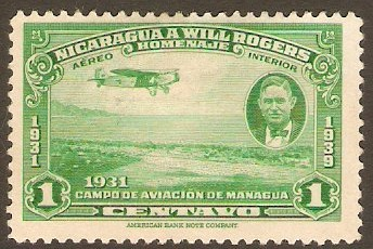 Nicaragua 1937 1c Green Will Rogers Stamp. SG1029.