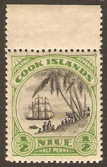 Niue 1932 ½d black and emerald. SG55.