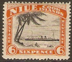 Niue 1932 6d black and orange-vermilion. SG60.