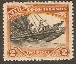 Niue 1932 2d Black and red-brown. SG57.