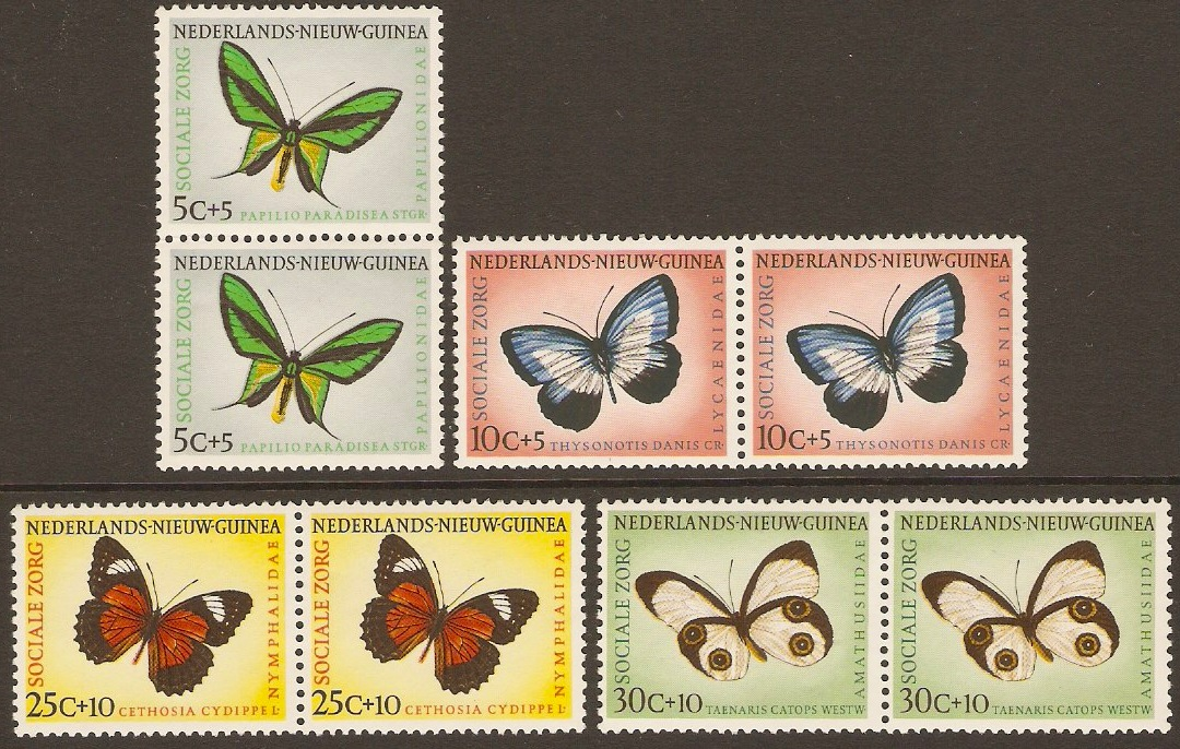 Netherlands New Guinea 1960 Butterfly Set. SG69-SG72. 4 pairs.