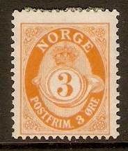 Norway 1909 3ore Orange. SG135.