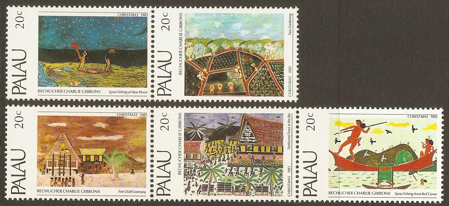 Palau 1983 Christmas Paintings set. SG29-SG33.